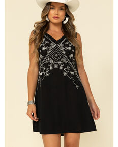 Studio West Women's Black Wild Blossoms Shift Dress, Black, hi-res