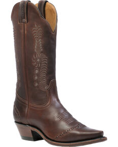 Boulet Gerico Brown Cowgirl Boots - Snip Toe, Brown, hi-res