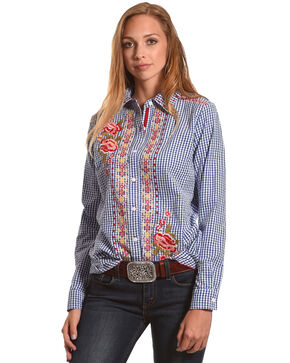 New Direction Sport Women's Blue Floral Gingham Shirt , Blue, hi-res