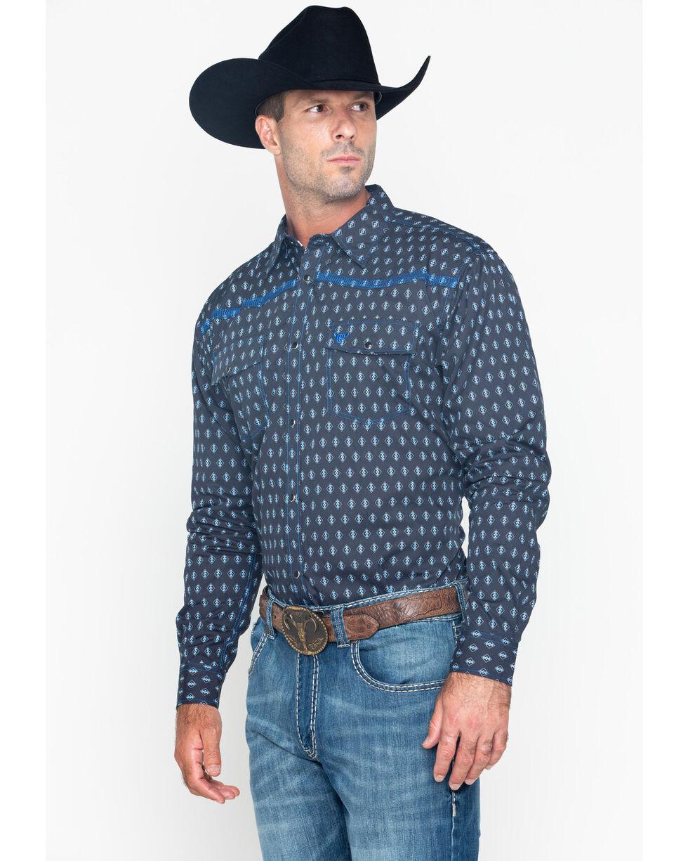 Cowboy Hardware Men's Diamond Print Long Sleeve Shirt , Navy, hi-res