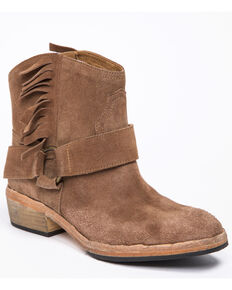 Free People Women's Bandalier Fringe Western Booties - Round Toe, Taupe, hi-res
