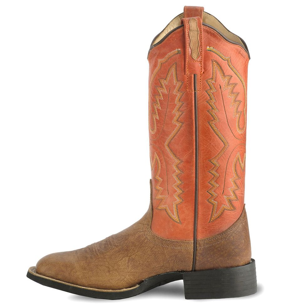 Old West Tan Vintage Cowgirl Boot - Wide Square Toe, Tan, hi-res