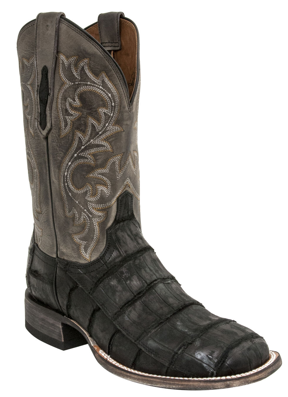 Lucchese Men's Handmade Malcolm Alligator Western Boots - Square Toe, Black, hi-res