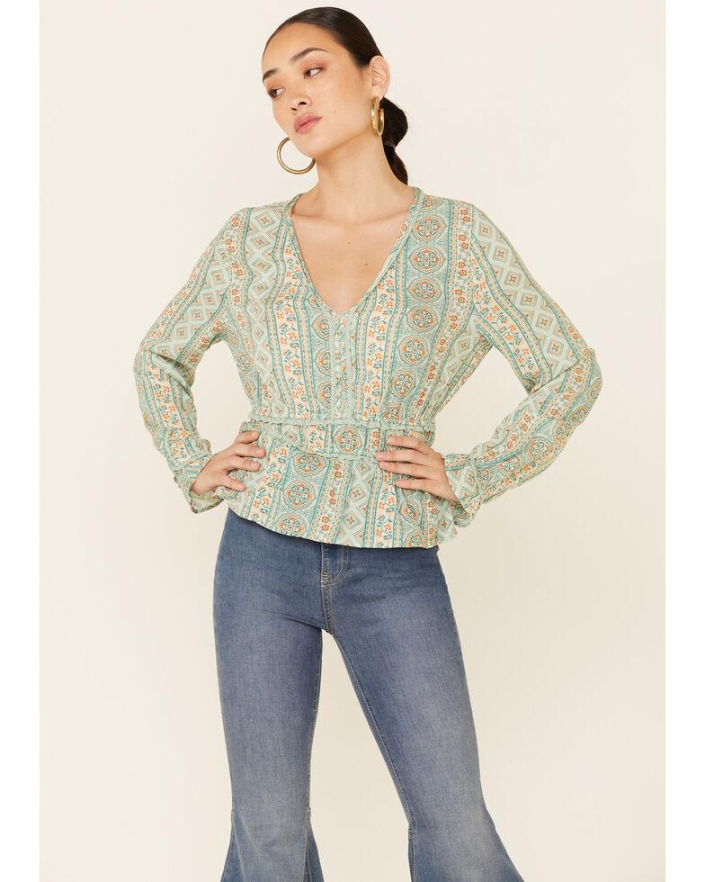 Wrangler Women's Teal Boho Stripe V-Neck Tiered Long Sleeve Top , Teal, hi-res