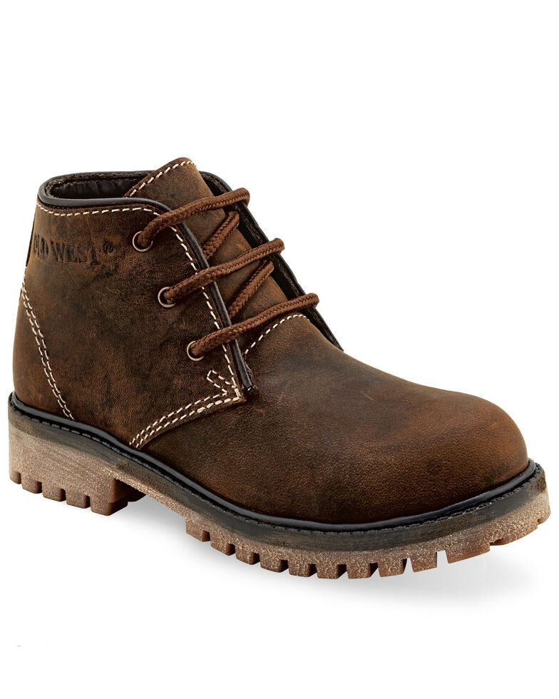"Old West Boys' 3.25""  Brown Hiker Boots - Round Toe, Brown, hi-res"