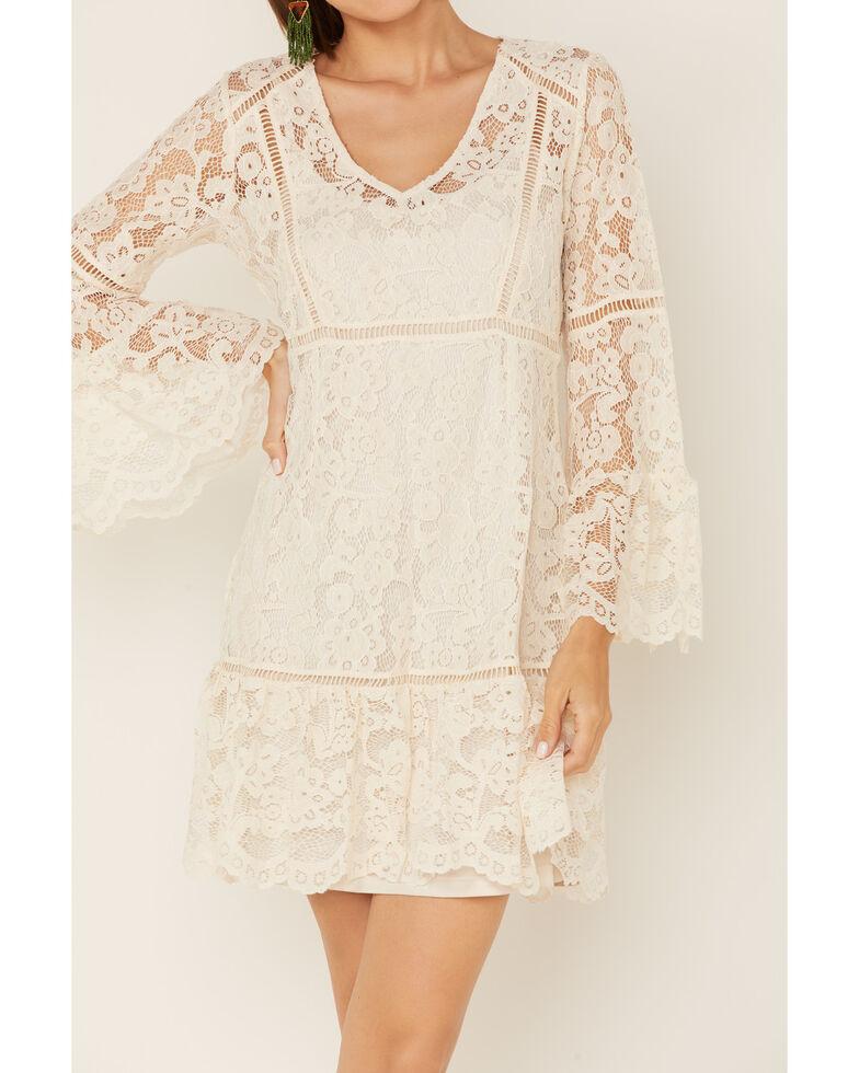 Honey Creek By Scully Women's Lace Crochet Long Sleeve Dress , Ivory, hi-res