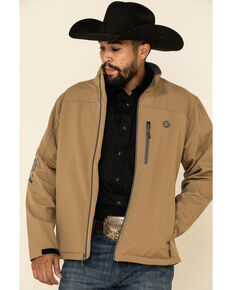 HOOey Men's Tan Solid Logo Sleeve Zip-Up Softshell Jacket , Tan, hi-res