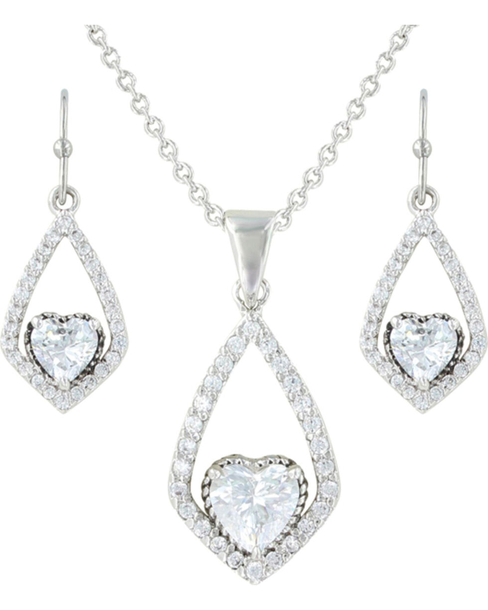 Montana Silversmiths Hearts on a Swing Jewelry Set, Silver, hi-res