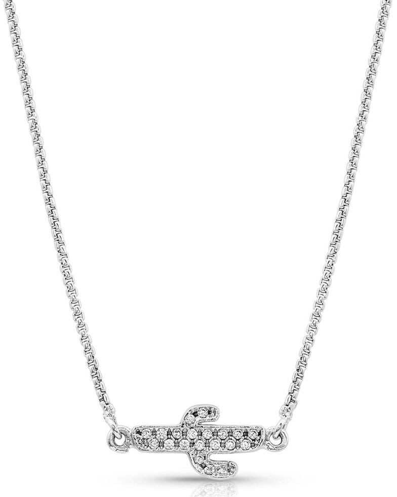 Montana Silversmiths Women's Two Sides To Every Cactus Necklace, Silver, hi-res
