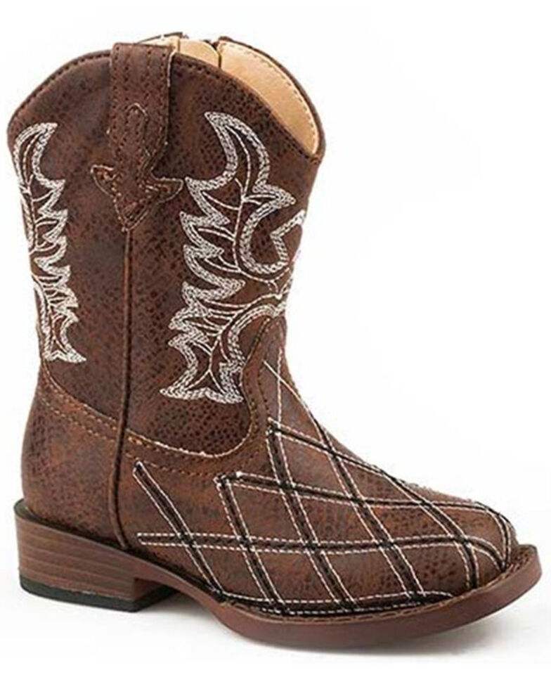 Roper Toddler Boys' Cross Cut Western Boots - Square Toe, Brown, hi-res