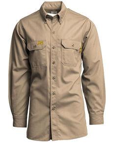 Lapco Men's FR Solid Khaki Uniform Long Sleeve Button-Down Work Shirt , Beige/khaki, hi-res