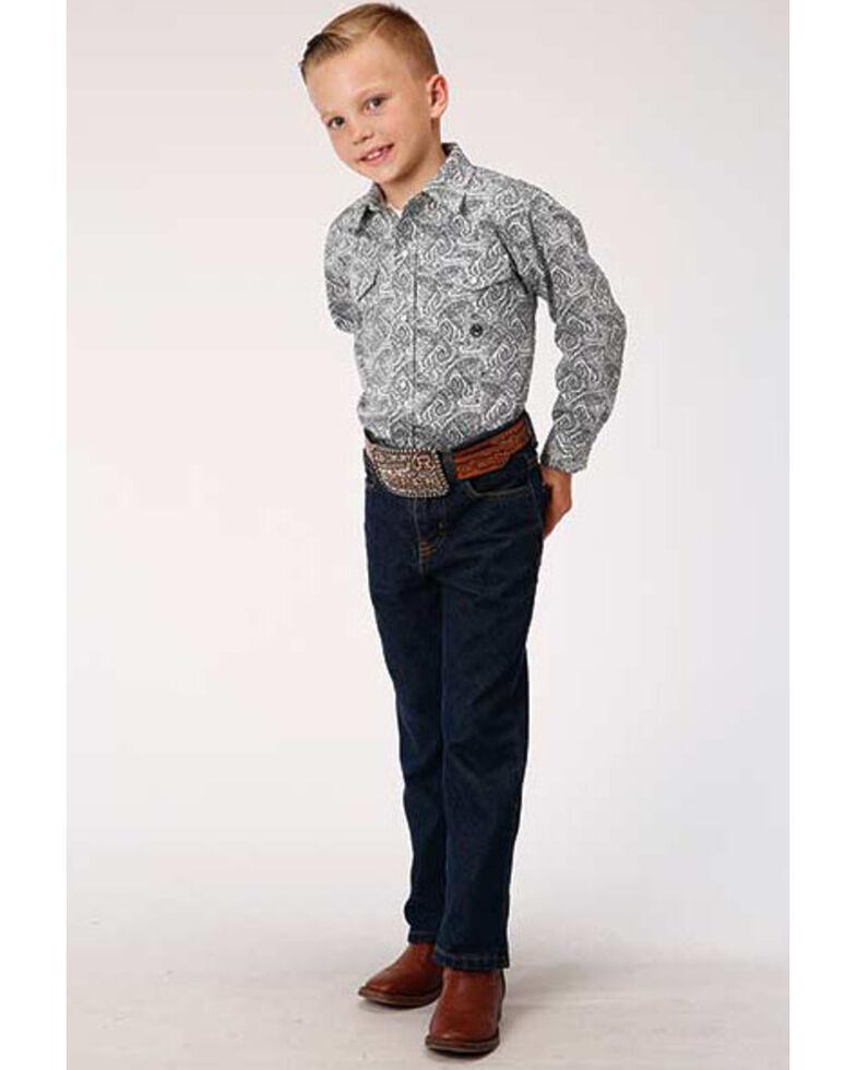 Roper Boys' Amarillo Gentlemans Paisley Print Snap Long Sleeve Western Shirt , Navy, hi-res