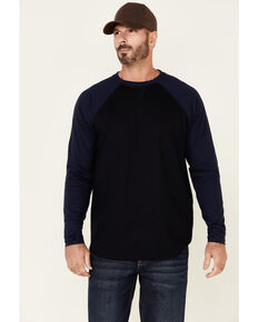 Cody James Men's FR Navy Blocked Baseball Long Sleeve Work Shirt, Navy, hi-res