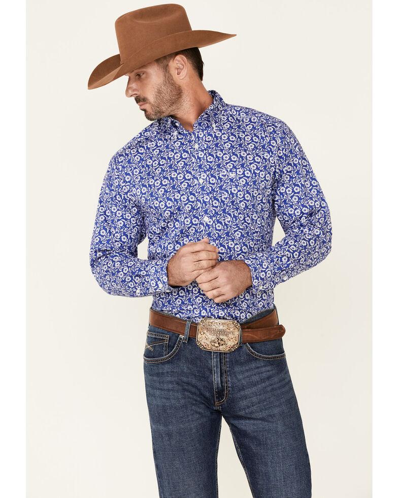 Ariat Men's Platt Stretch Floral Print Long Sleeve Button-Down Western Shirt , Dark Blue, hi-res
