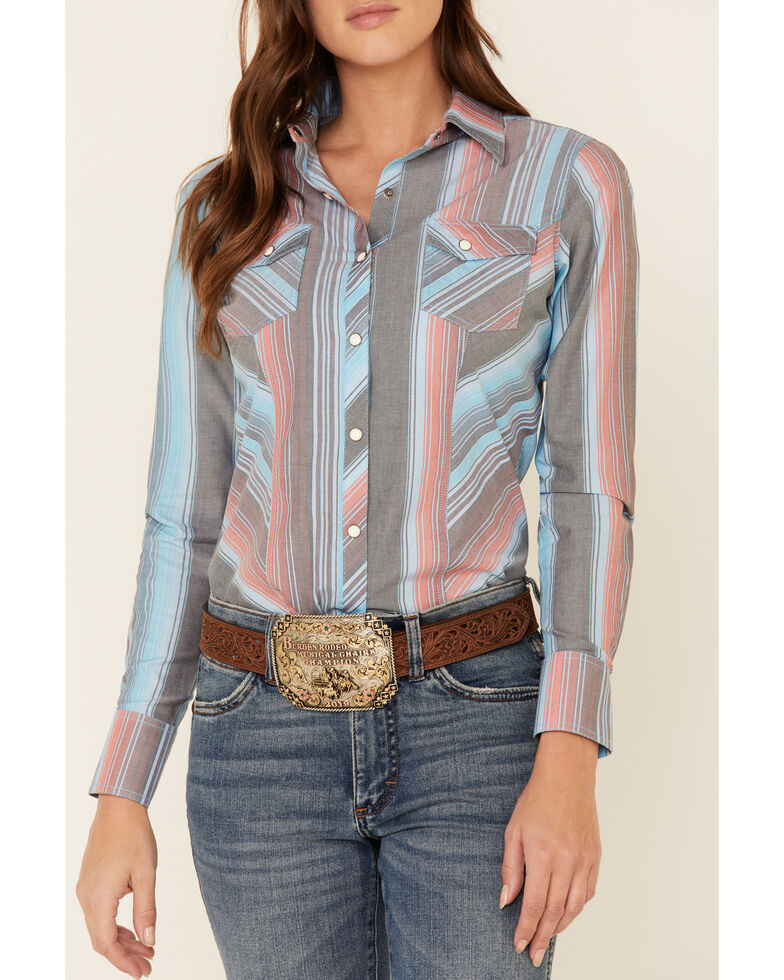 Rock & Roll Denim Women's Multi Serape Striped Long Sleeve Western Shirt , Blue, hi-res