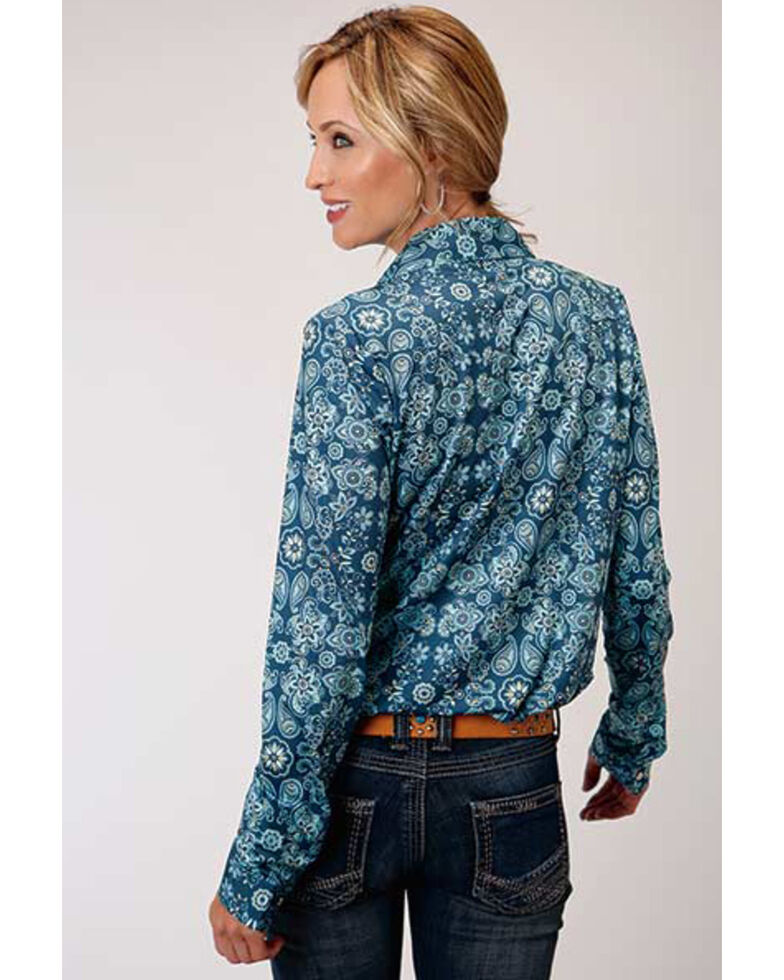 Studio West Women's Blue Floral Long Sleeve Western Shirt, Blue, hi-res