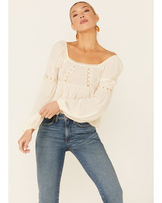 Coco + Jaimeson Women's Ivory Lace Trim Long Sleeve Peasant Top , Ivory, hi-res
