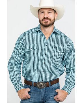 Panhandle Select Men's Peached Geo Print Long Sleeve Western Shirt , Black, hi-res