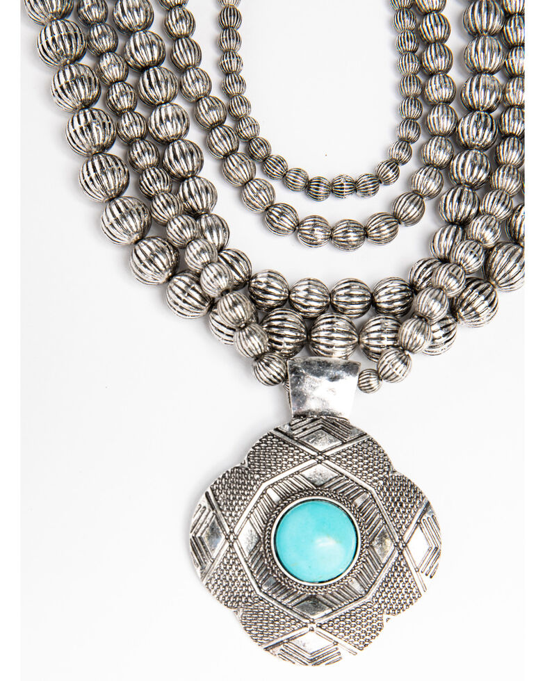 Shyanne Women's Blue Falls Multi Beaded Necklace With Large Pendant, Silver, hi-res