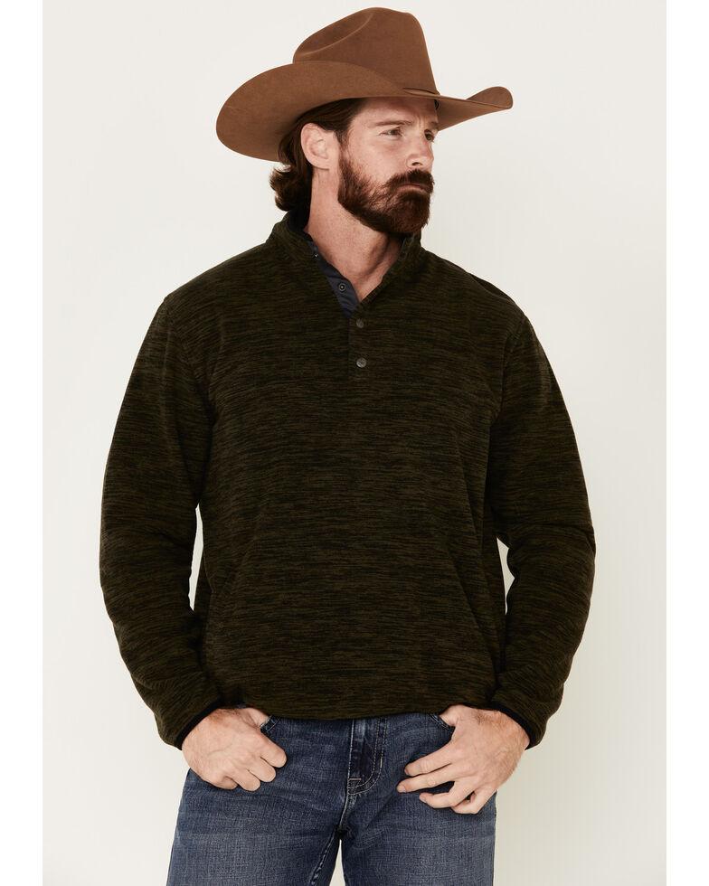 North River Men's Fleece 1/4 Snap Mock Neck Pullover , Olive, hi-res
