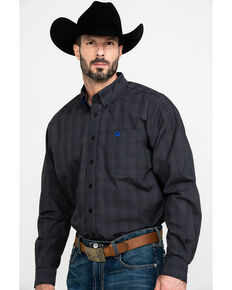 Cinch Men's Black Mini Check Plaid Long Sleeve Western Shirt , Black, hi-res