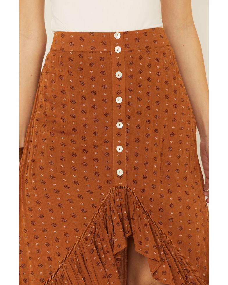 Shyanne Women's Cognac Printed Hi-Low Button Skirt, , hi-res