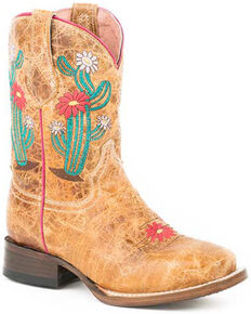 Roper Youth Girls' Cactus Flower Western Boots - Square Toe, Brown, hi-res