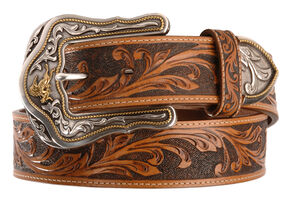 Tony Lama Western Ride Leather Belt - Reg & Big, Tan, hi-res
