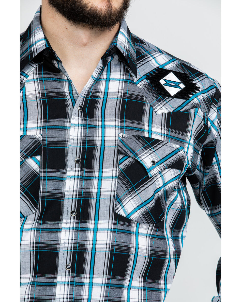 Ely Cattleman Men's Retro Aztec Embroidered Plaid Long Sleeve Western Shirt  , Black, hi-res