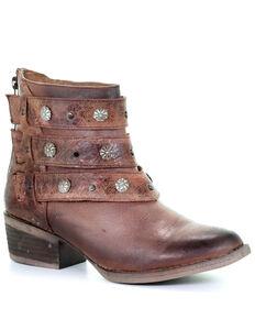 Corral Women's Cognac Harness & Studs Ankle Boots - Round Toe, Cognac, hi-res