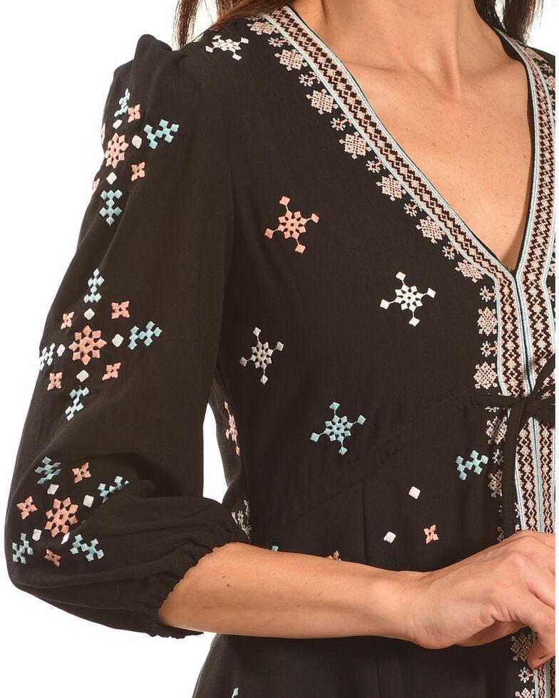 MI. OH. MI. Women's Embroidered V-Neck Dress, Black, hi-res