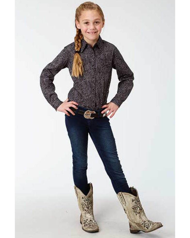 West Made Girls' Black Paisley Print Long Sleeve Western Shirt , Black, hi-res