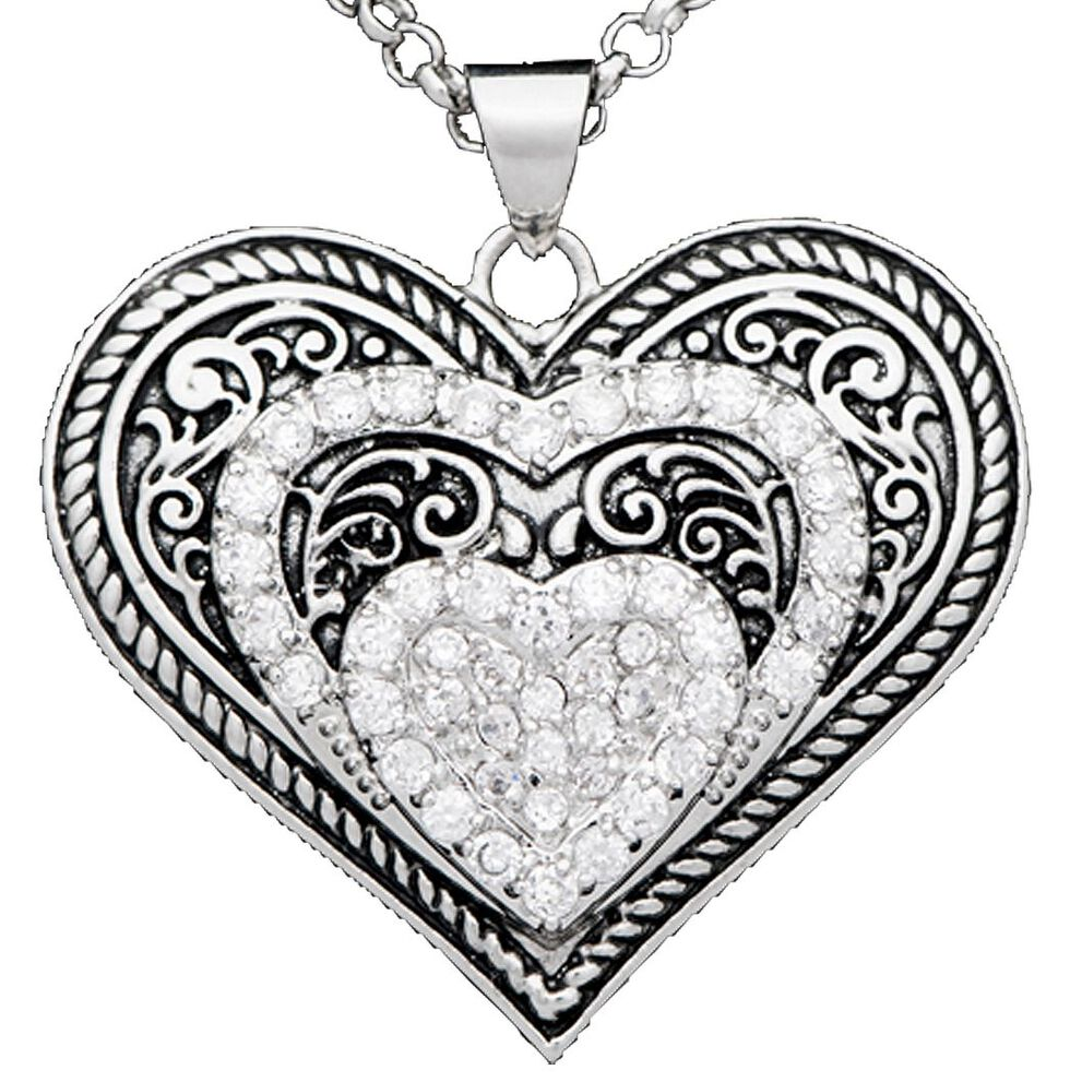 Montana Silversmiths Cubic Zirconia Heart in Heart Necklace & Earrings Set, Silver, hi-res