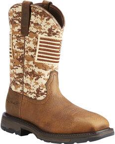 Ariat Men's WorkHog Patriot Earth/Sand Camo Boots - Square Toe, Sand, hi-res