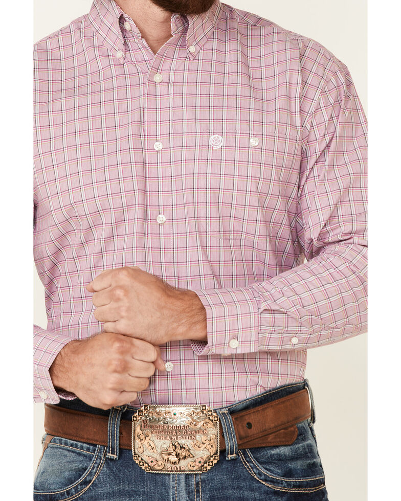 George Strait By Wrangler Men's Pink Plaid Long Sleeve Button-Down Western Shirt , Pink, hi-res