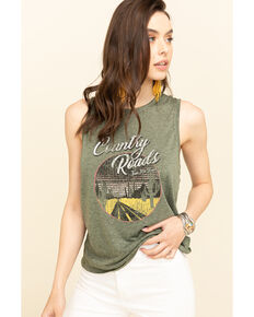 Cut & Paste Women's Country Road Braided Graphic Tank Top, Olive, hi-res