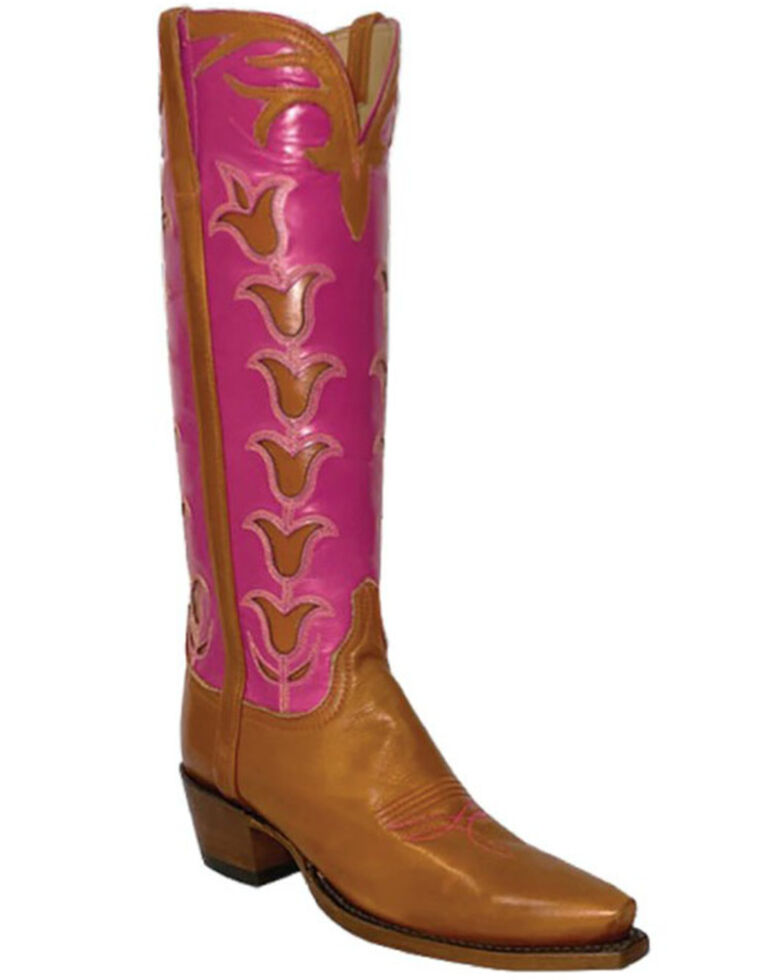 Lucchese Women's Old English Western Boots - Snip Toe, Cognac, hi-res