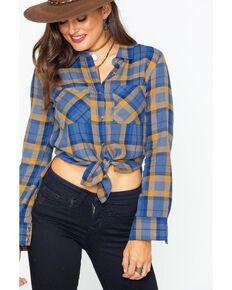 Shyanne Women's Plaid Flannel Woven Shirt, Blue, hi-res