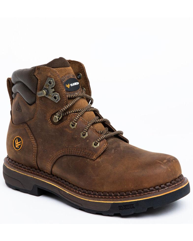 Hawx Men's Crew Chief Work Boots - Soft Toe, Dark Brown, hi-res