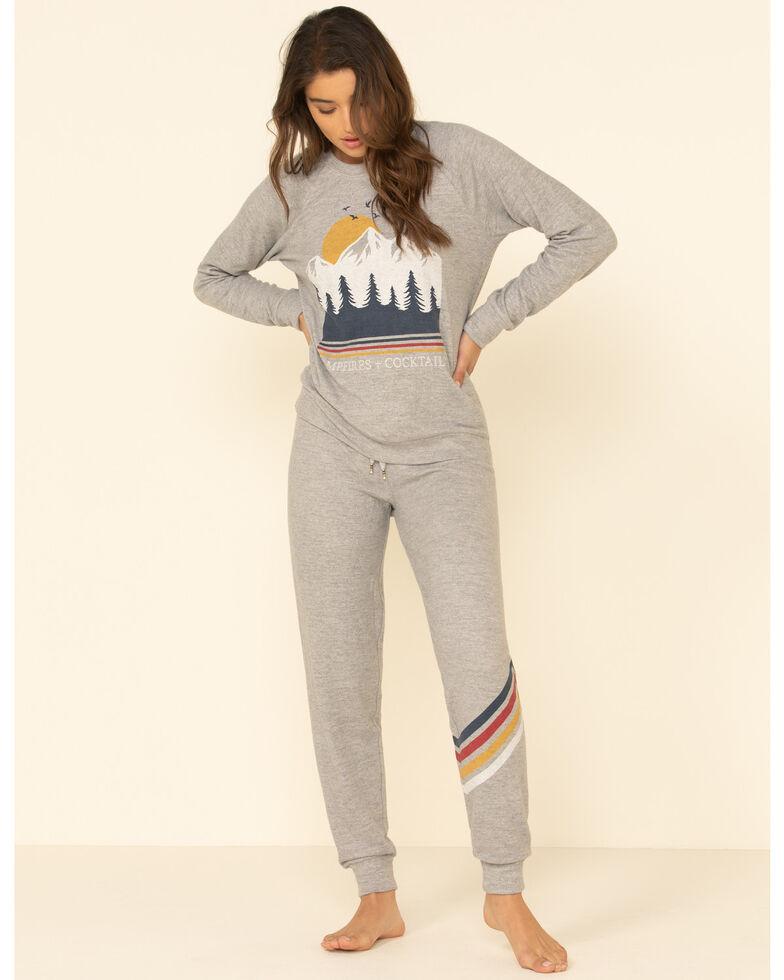 PJ Salvage Women's Grey Campfires & Cocktail Pullover Top , Grey, hi-res