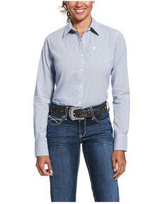 Ariat Women's Blue Magazine Striped Kirby Long Sleeve Western Shirt , Blue, hi-res