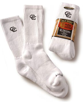 Dan Post Mens Cowboy Certified Crew Socks (2-Pack) - Sizes 10.5 - 13, White, hi-res
