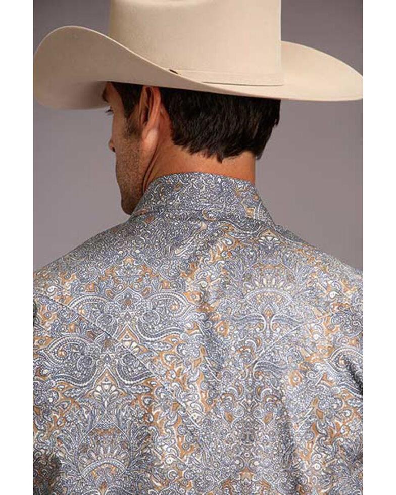 Stetson Men's Mirror Paisley Print Long Sleeve Western Shirt , Brown, hi-res