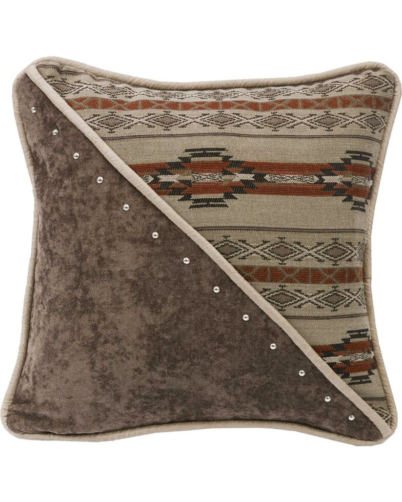 HiEnd Accents Half Fabric and Half Print Pillow , Multi, hi-res
