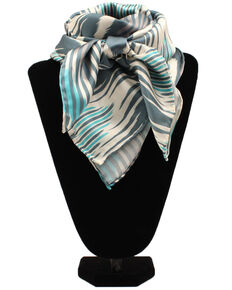 M&F Western Women's Chevron Wild Rag Scarf, Turquoise, hi-res