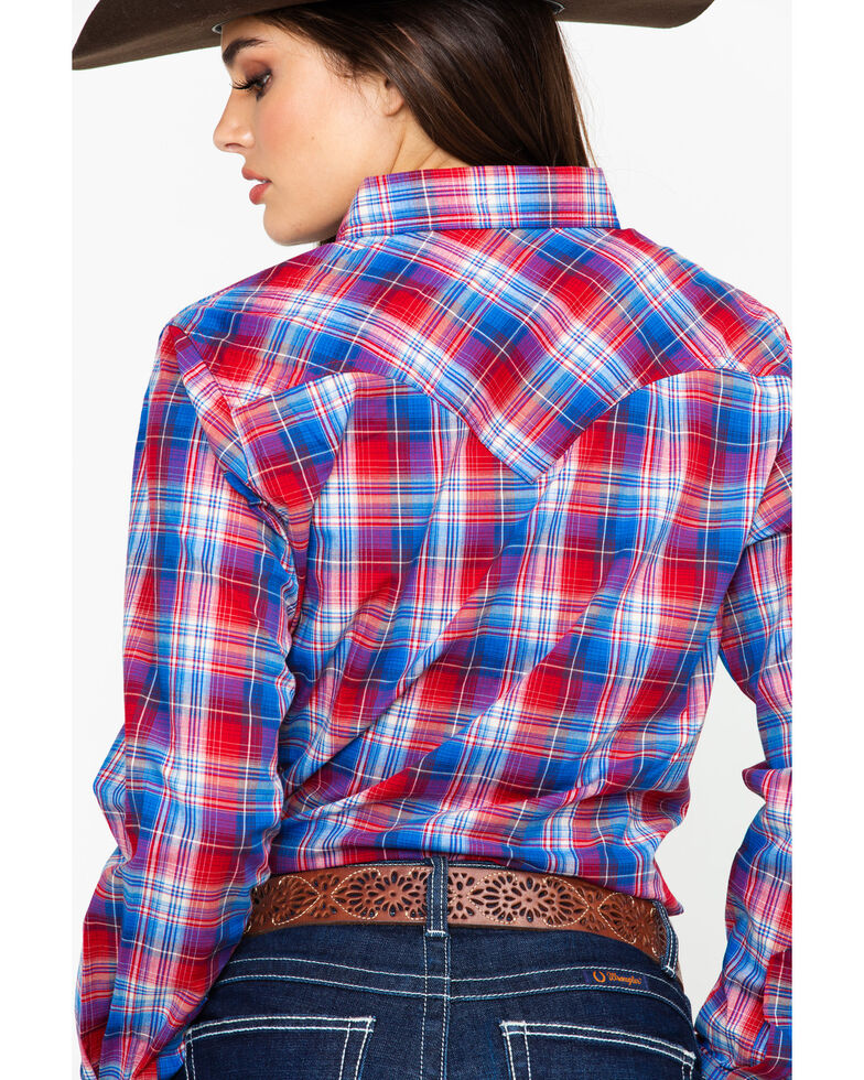 Wrangler Women's Red & Blue Plaid Snap Long Sleeve Shirt , Red, hi-res