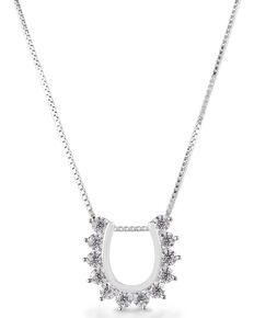 Kelly Herd Women's Outside Set Horseshoe Necklace , Silver, hi-res