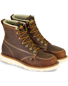 "Thorogood Men's 6"" American Heritage MAXwear Wedge Sole Work Boots - Soft Toe, Brown, hi-res"
