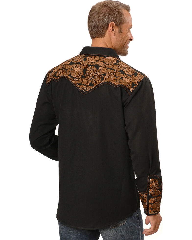 Scully Men's Copper Embroidered Gunfighter Long Sleeve Western Shirt , Black, hi-res