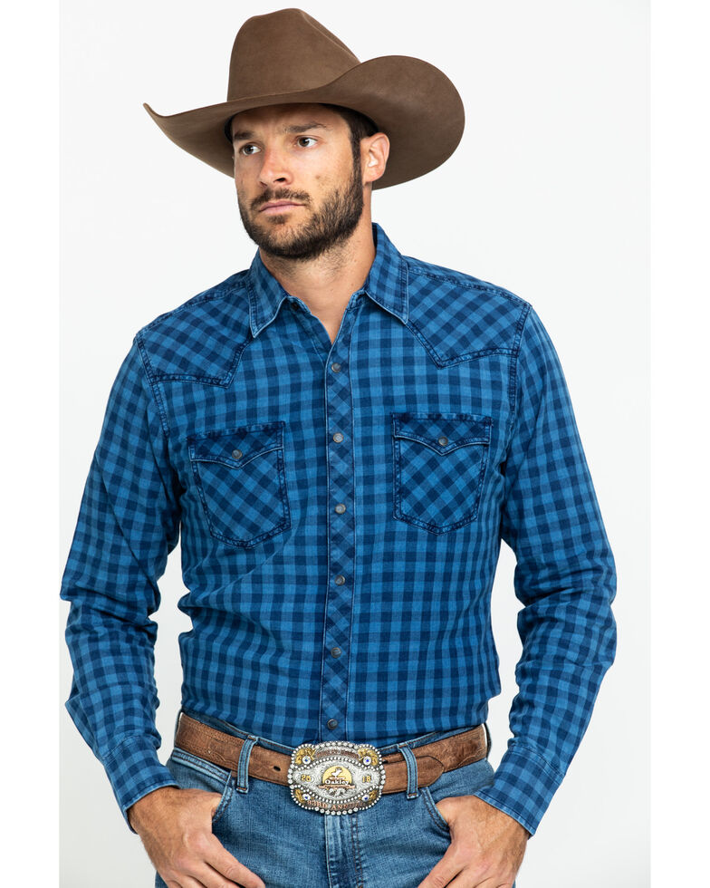 Wrangler Retro Men's Blue Check Plaid Long Sleeve Western Shirt , Blue, hi-res